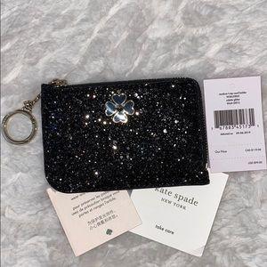 Kate spade black odette glitter L- zip card holder